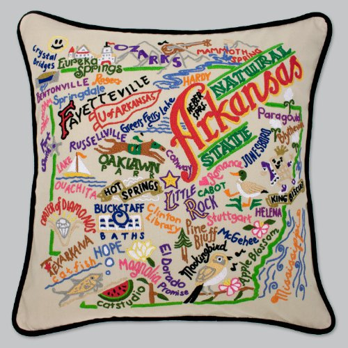 Catstudio Arkansas Pillow - Original Geography Collection Home Décor 004(CS) by Catstudio Embroidered Pillow