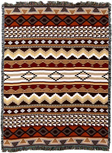 Pure Country Weavers - Domingo Southwest Blanket | Woven Tapestry Camp Throw with Fringe Cotton USA 72x54