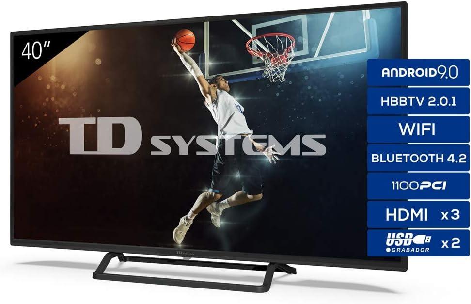 Televisiones Smart TV 40 Pulgadas Android 9.0 y HBBTV, 1100 PCI Hz, 3X HDMI, 2X USB. DVB-T2/C/S2, Modo Hotel - Televisores TD Systems K40DLX11FS