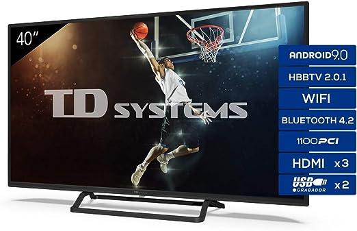 TD Systems - Televisor K40DLX11FS, Smart TV 40 Pulgadas, Android 9.0 y HBBTV, 1100 PCI Hz, 3X HDMI, 2X USB. DVB-T2/C/S2, Modo Hotel, Negro: Amazon.es: Electrónica