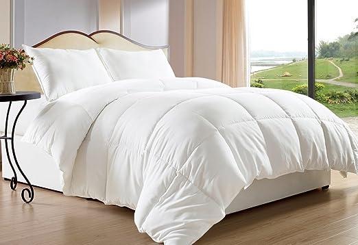Light Warmth Down Alternative Comforter White All Season Duvet in Box Stitching