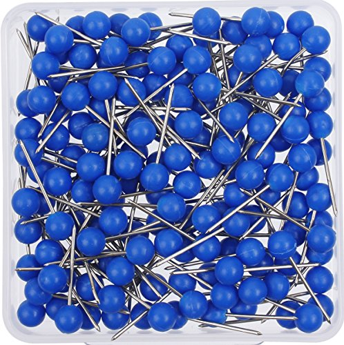 (AnMiao Star 1/8 Inch Map Tracks, Push Pins, Plastic Round Head, Steel Point, 100-Count,Blue Colors)