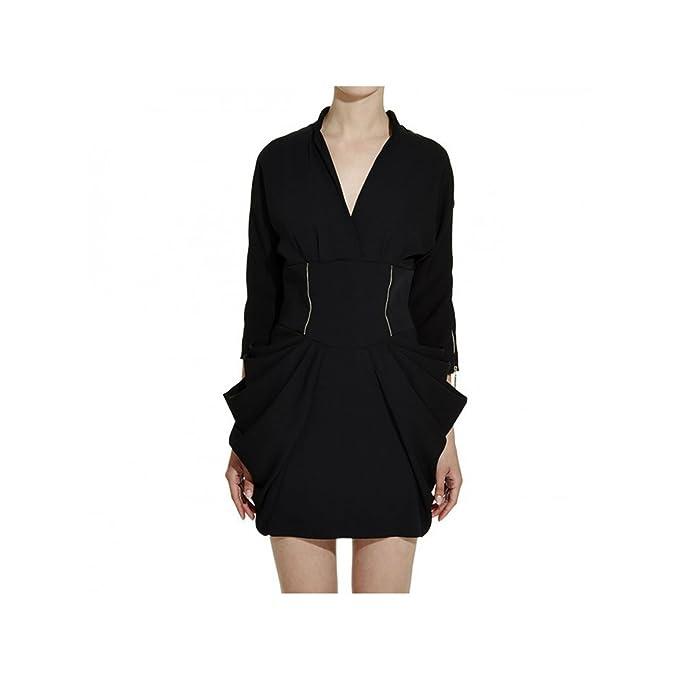 Abito Zip Bermen A Mangano Modello Nero Donna Con Vestito 6ybf7g Tubino fb67gYy