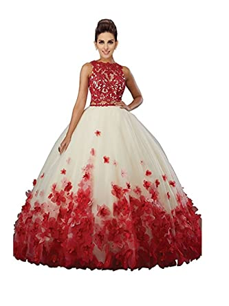 ff1f902992 Amazon.com  XIA Sleeveless Red Hand Make Flowers Two Piece Ball Gowns Long Formal  Prom Dress Quinceanera Dress  Clothing