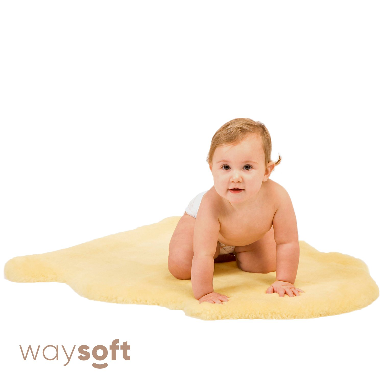 Baby Sheepskin Rug by WaySoft in a Gift Bag, New Zealand Soft Dense Shorn Wool, Hypoallergenic and Oeko-Tex Standard 100 Certified Nursery Rug, 2ft x 3ft