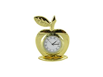 GoldGiftIdeas Apple Shape Roman Number Table Clock for Office, Office Desk Decor, Corporate Gift for Employees
