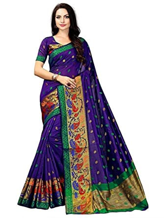 e5d651381b4077 Amazon.com: Mirraw Traditional Designer Royal Blue Poly Cotton Wedding Wear  Saree with Unstitched Blouse: Clothing