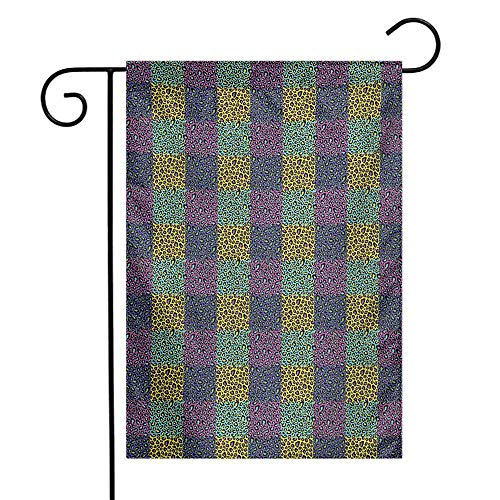 Mannwarehouse Leopard Print Garden Flag Colorful Checkered Pattern with Eighties Style Pop and Hipster Animal Spots Premium Material W12 x L18 Multicolor