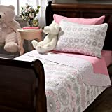2 Piece Girls Light Pink Purple Grey Floral Theme Quilt Twin Set, Pretty All Over Geometric Medallion Daisy Flower Bedding, Beautiful Girly Reversible Multi Small Polka Dot Themed Pattern, Gray White