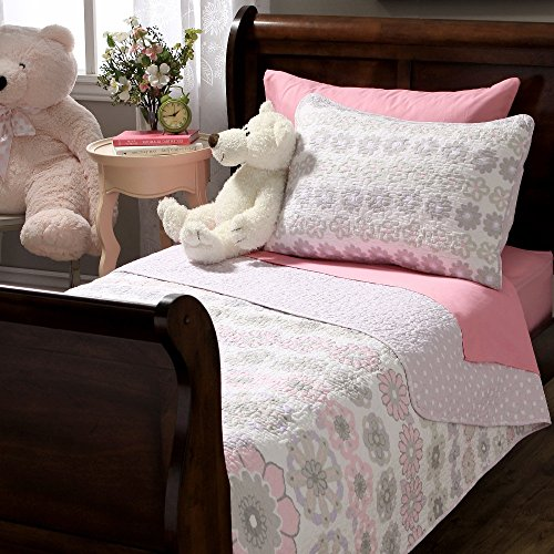 2 Piece Girls Light Pink Purple Grey Floral Theme Quilt Twin Set, Pretty All Over Geometric Medallion Daisy Flower Bedding, Beautiful Girly Reversible Multi Small Polka Dot Themed Pattern, Gray White (2 Pink Floral Piece)