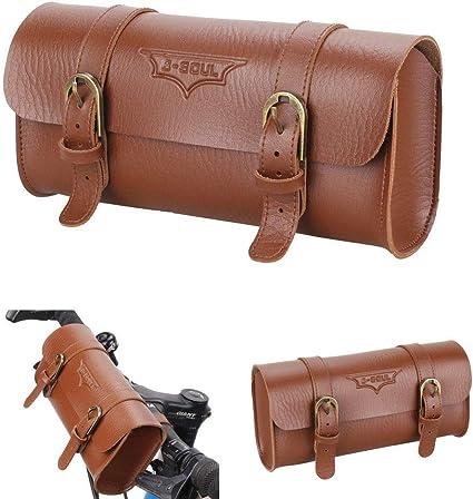Roll Bicycle Saddle Bag Real Leather Handlebar Frame Seat bag TAN