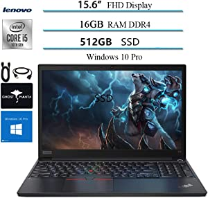 "2020 Lenovo ThinkPad E15 15.6"" FHD Business Laptop Computer, 10th gen Intel i5-10210U (up to 4.20GHz,Beat i7-8550u), 16GB RAM, 512GB SSD, WiFi HDMI Win10 Pro w/Ghost Manta Accessories"