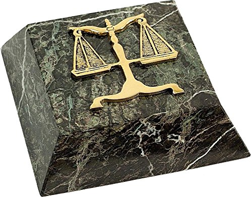 - Green Marble Gold Plated Legal Lawyer Law Paperweight