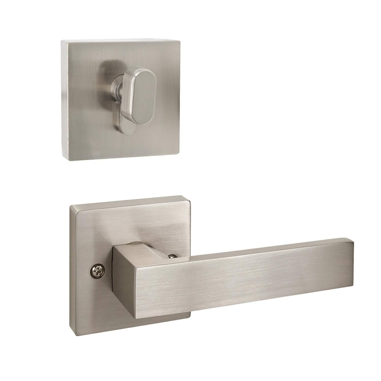 Probrico Front Door Lever Lockset and Single Cylinder Deadbolts Combination Set(Keyed Alike),Keyed Door Hardware in Brushed Nickel Finish, Passage Locks with Deadbolts