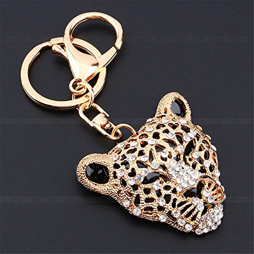 Keychain Jaguar (JewelBeauty Fashion Crystal Leopard Jaguar Head Key Ring Purse Bag Keychain Car Bag Pendant Decoration Gift (Gold))