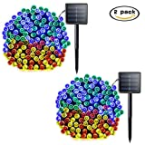 Lalapao Solar String Lights 2 Pack Christmas lights 72ft 22m 200 LED Solar Powered Starry Lighting Waterproof Outdoor String Lights for Indoor Gardens Path Homes Wedding Party Decor (Multi Color)