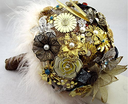 8 inch Brown vintage brooch bouquet / mysterious ancient flower care of your love /jewelry, wedding bridal bouquets brown by Bridal bouquet