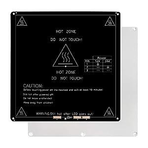 Hot Bed Platform,Heating-Plate 24V/12V Changeable 220x220x3mm Aluminum Heated Bed for 3D Printer Ender3,CR10, Updated Version of MK2B & MK2A,Black