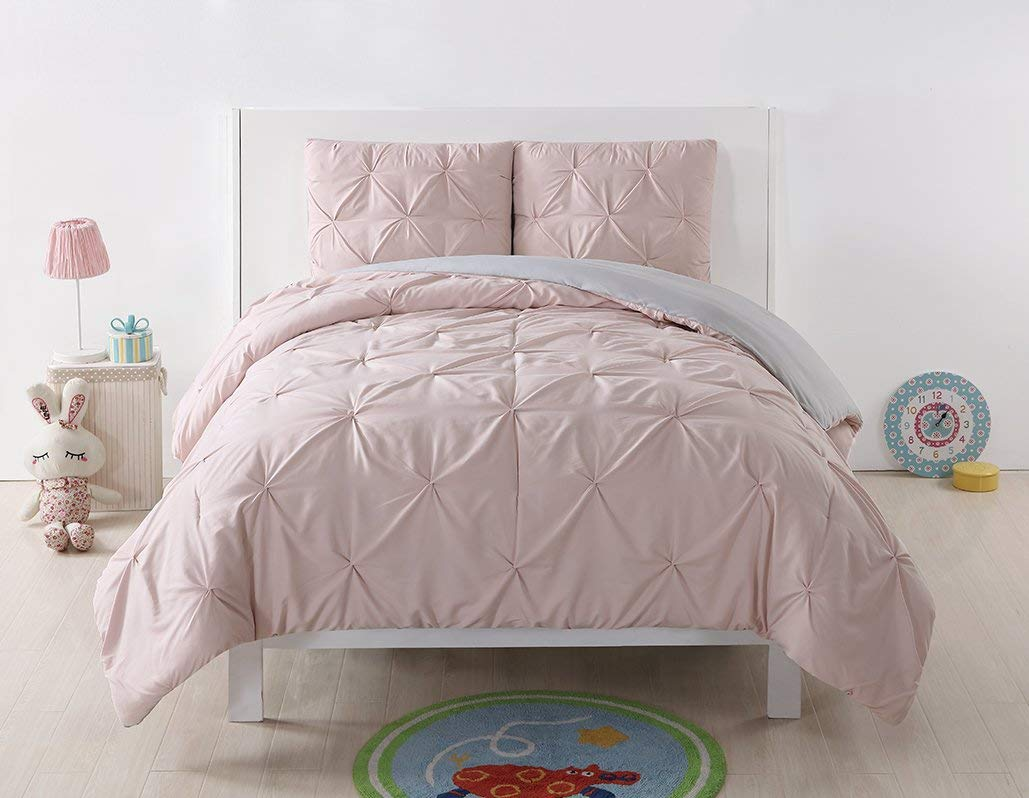 Laura Hart Kids Reversible XL Duvet Cover and Shams Set, Twin X-Large, Blush/Silver Grey Pleated