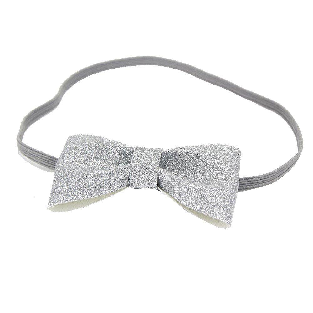 ANBOO Newborn Baby Girls Bow Tie Hairband Headband (Silver)