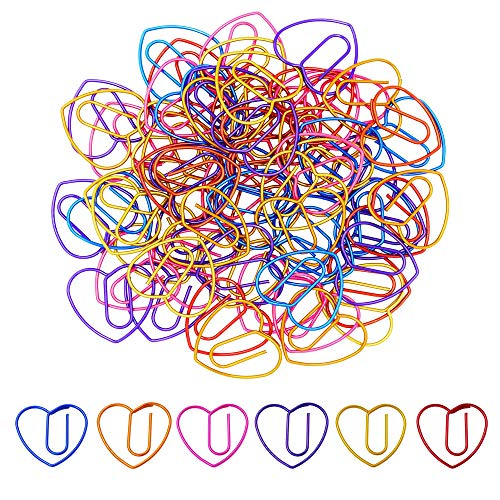 (Cute Love Heart Paper Clips Bookmark Paperclips 60 Counts, Office Supplies Gifts for Women Coworker Students)