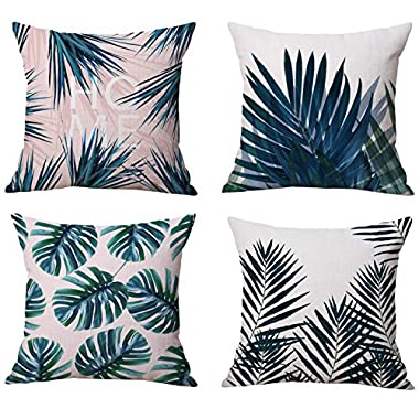 Modern Tropical Leaves Series Cotton & Linen Burlap Square Throw Pillow Covers, 18 x 18 Inches, Set of 4 (Tropical Leaves)