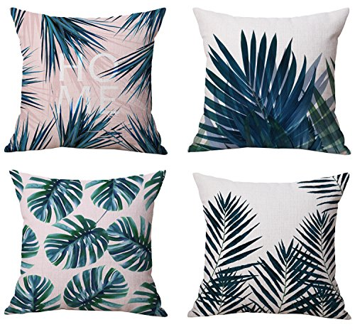 Tropical Cushion - Modern Tropical Leaves Series Cotton & Linen Burlap Square Throw Pillow Covers, 18 x 18 Inches, Set of 4 (Tropical Leaves)