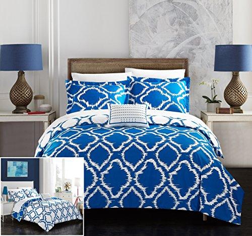 Chic Home 4 Piece Juniper Reversible two-tone Ikat diamond geometric pattern print technique King Duvet Cover Set Blue (Blue Bedding White)