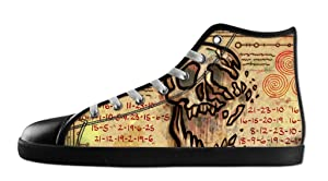 Custom Women's Cartoon Gravity Falls Canvas Shoes High-Top Black Rubber Casual Lace-up Soft Inner Sneaker-7M(US)