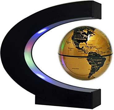 Floating Football with LED Lights TeaMaX Magnetic Levitation Floating Gold Globe with C Shape Base Fathers Students Teacher Birthday Gift Best Business Men Gift