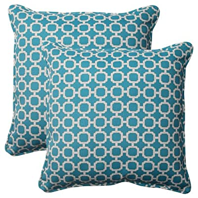Pillow Perfect Outdoor Hockley Corded Throw Pillow, 18.5-Inch, Teal, Set of 2 - Includes two (2) outdoor pillows, resists weather and fading in sunlight; Suitable for indoor and outdoor use Plush Fill - 100-percent polyester fiber filling Edges of outdoor pillows are trimmed with matching fabric and cord to sit perfectly on your outdoor patio furniture - living-room-soft-furnishings, living-room, decorative-pillows - 61wHmhjZ5gL. SS400  -