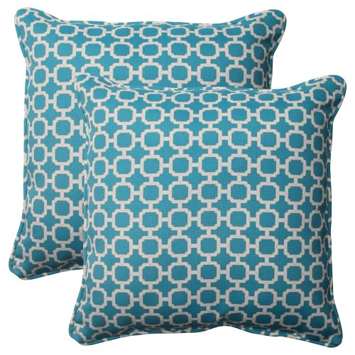 61wHmhjZ5gL - Pillow Perfect Indoor/Outdoor Hockley Corded Throw Pillow, 18.5-Inch, Teal, Set of 2