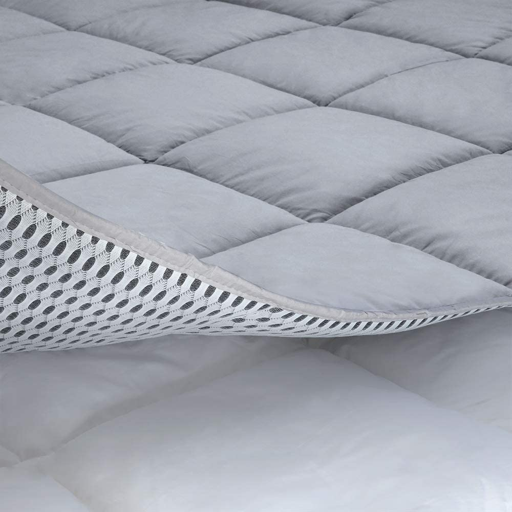 Cooling Mattress Pad Cover, with 100% Cotton Cover and Mesh Shell Underlay, Snow Fiber Filled, Soft, Temperature Regulated, Premium Mattress Protector, Machine Washable (Queen (60x80 inch), Grey)