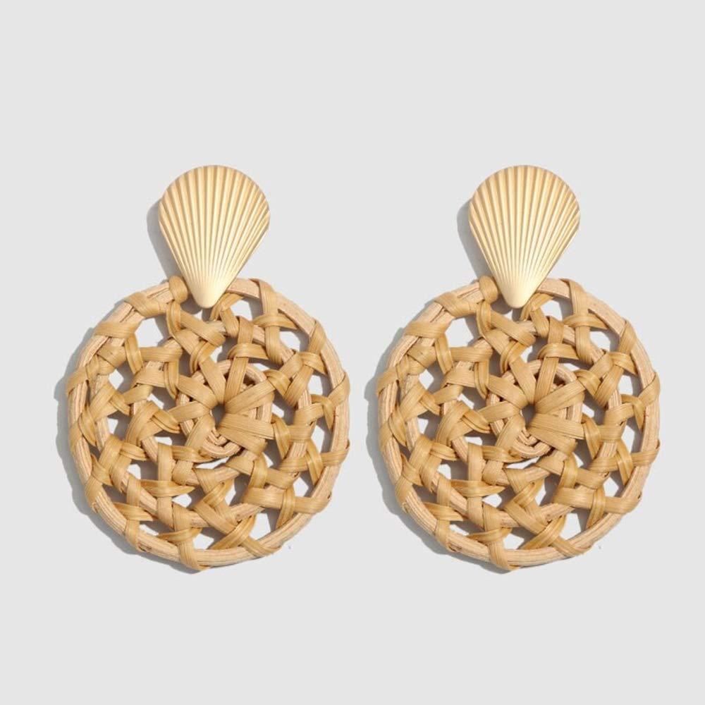 Rattan Earrings New Korea Round Drop Earrings for Women Natural Geometric Wooden Bamboo Straw Weave Rattan Knit 21