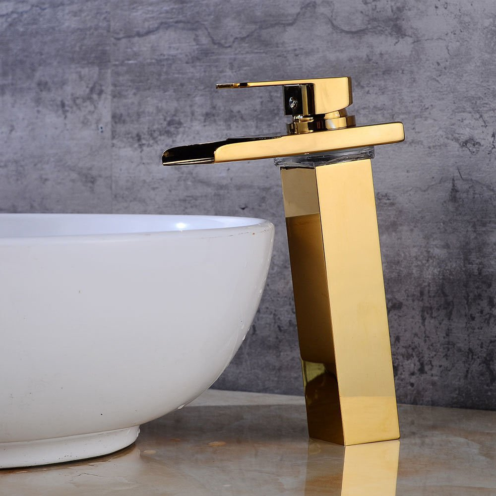 Modern simple copper hot and cold kitchen sink taps kitchen faucet LED waterfall faucet basin faucet gold hot and cold copper faucet single hole single handle Suitable for all bathroom kitchen sinks
