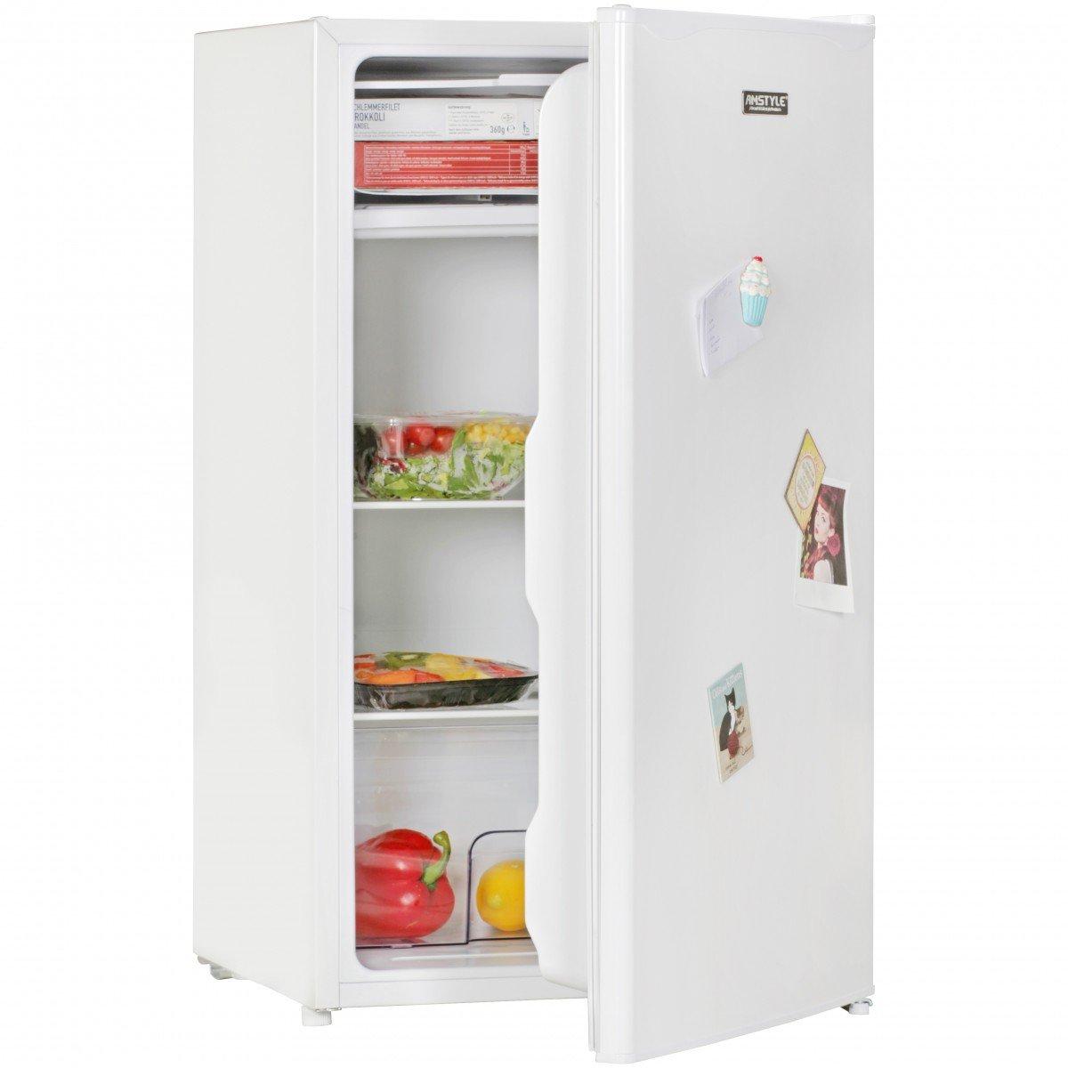 AMSTYLE Minikühlschrank EEK A+ 95L mit Gefrierfach weiß Türanschlag ...