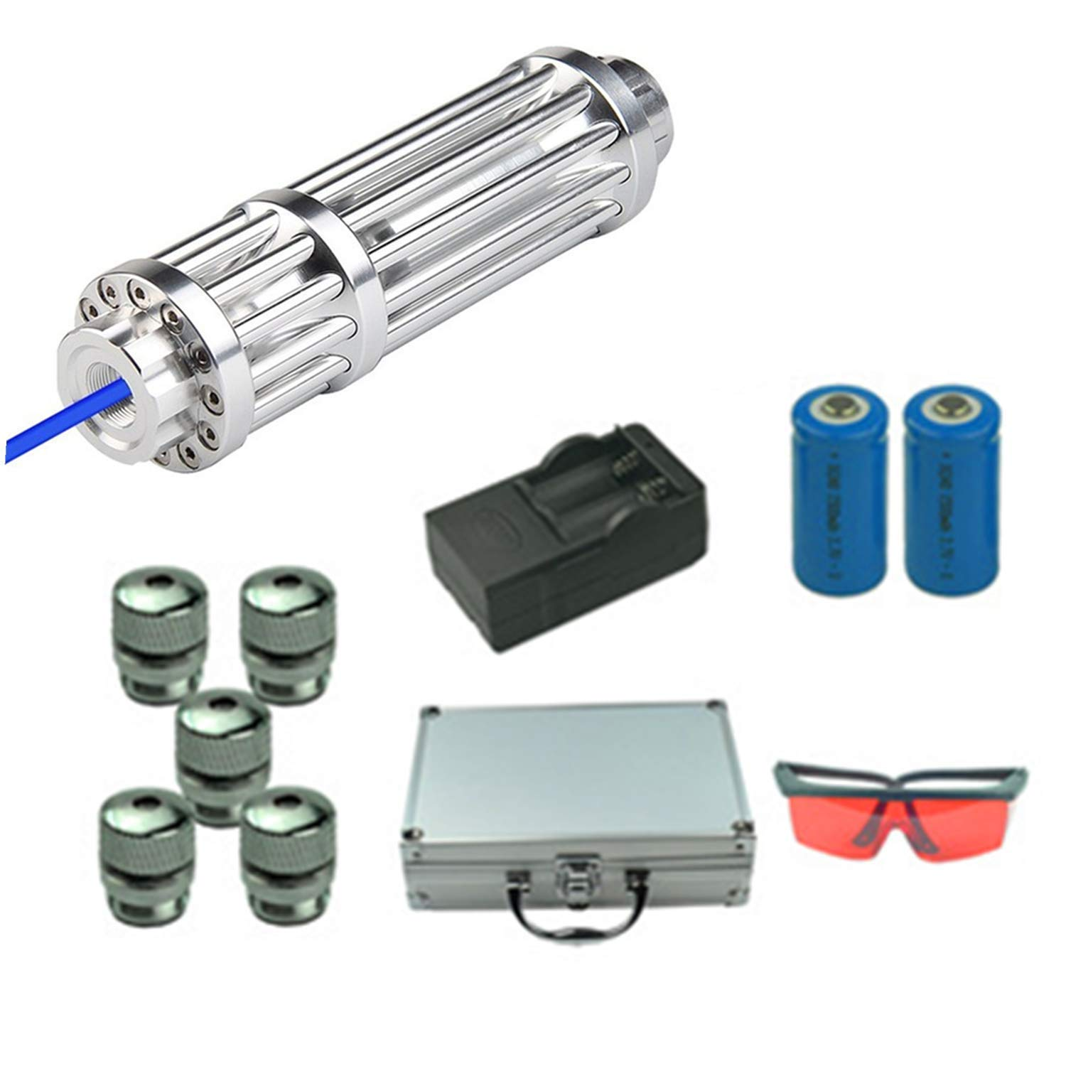 High Power Blu ray Tactical Pointer Flashlight Hunting Sight Camping Survival Mode and Astronomy College Laser Pet Toy Suit (Blu ray) (Blue)