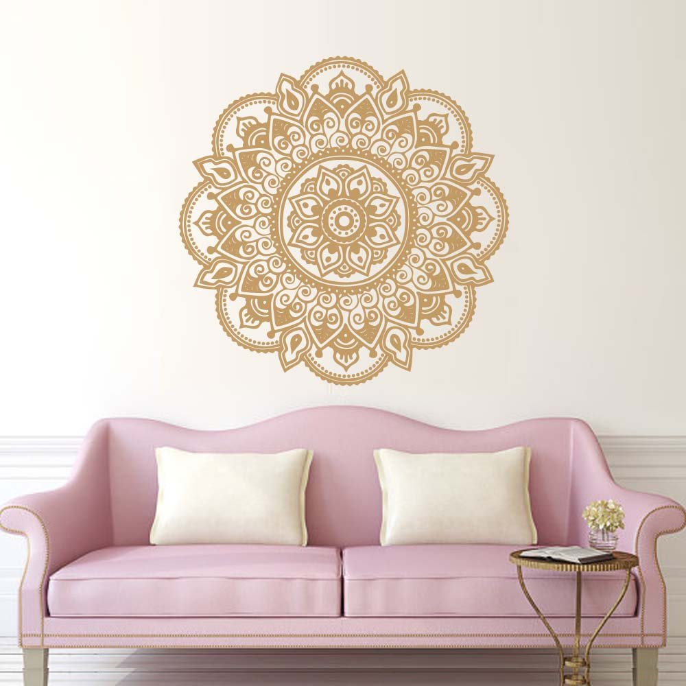 BATTOO Mandala Wall Decal Yoga Studio Vinyl Sticker Decals Ornament Moroccan Pattern Namaste Lotus Flower Home Decor Boho Bohemian Bedroom(Dark Blue, 16 WX16 H) 16 WX16 H)