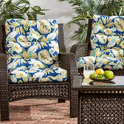 South Pine Porch AM6809S2-MARLOW Marlow Blue Floral Outdoor High Back Chair Cushion, Set of 2