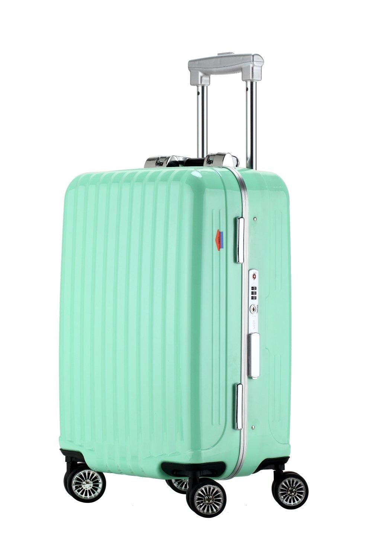 Ambassador Luggage Designer 19 Inch Carry On Luggage Aluminum Frame Spinner Suitcase Aquamarine