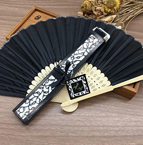 - Black 10Pcs/Lot Personalized/Customized Printing Text 21Cm Bamboo Silk Hand Fan Pocket Fan Wedding Invitation
