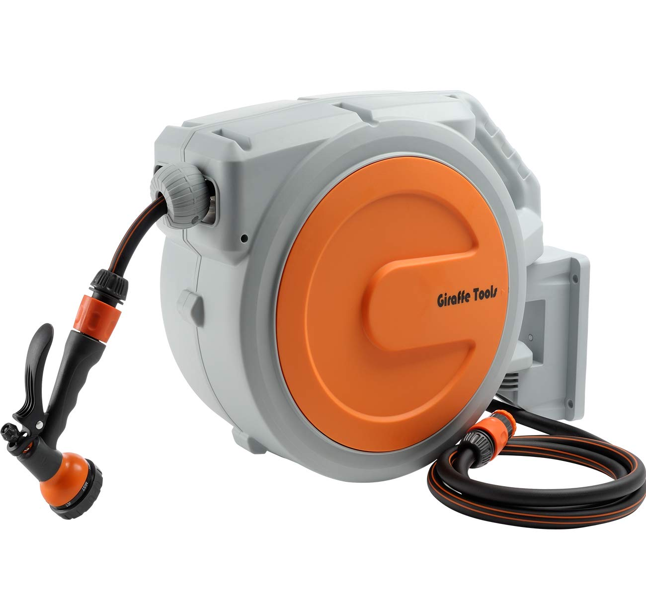 Garden-Hose-Reel 20m+2m Wall-Mounted Pico Garden Reel with 7 Pattern Spray Nozzle, Wall Bracket and Any Length Lock Auto Reel by Giraffe Giraffe Tools