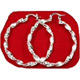 Foreverstore 925 Plated Sterling Silver Big Hoop Earrings New Fashion Jewelry Declicate Classic Design