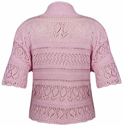 Bolero de punto para mujer, diseño abierto, manga corta, talla grande rosa pastel