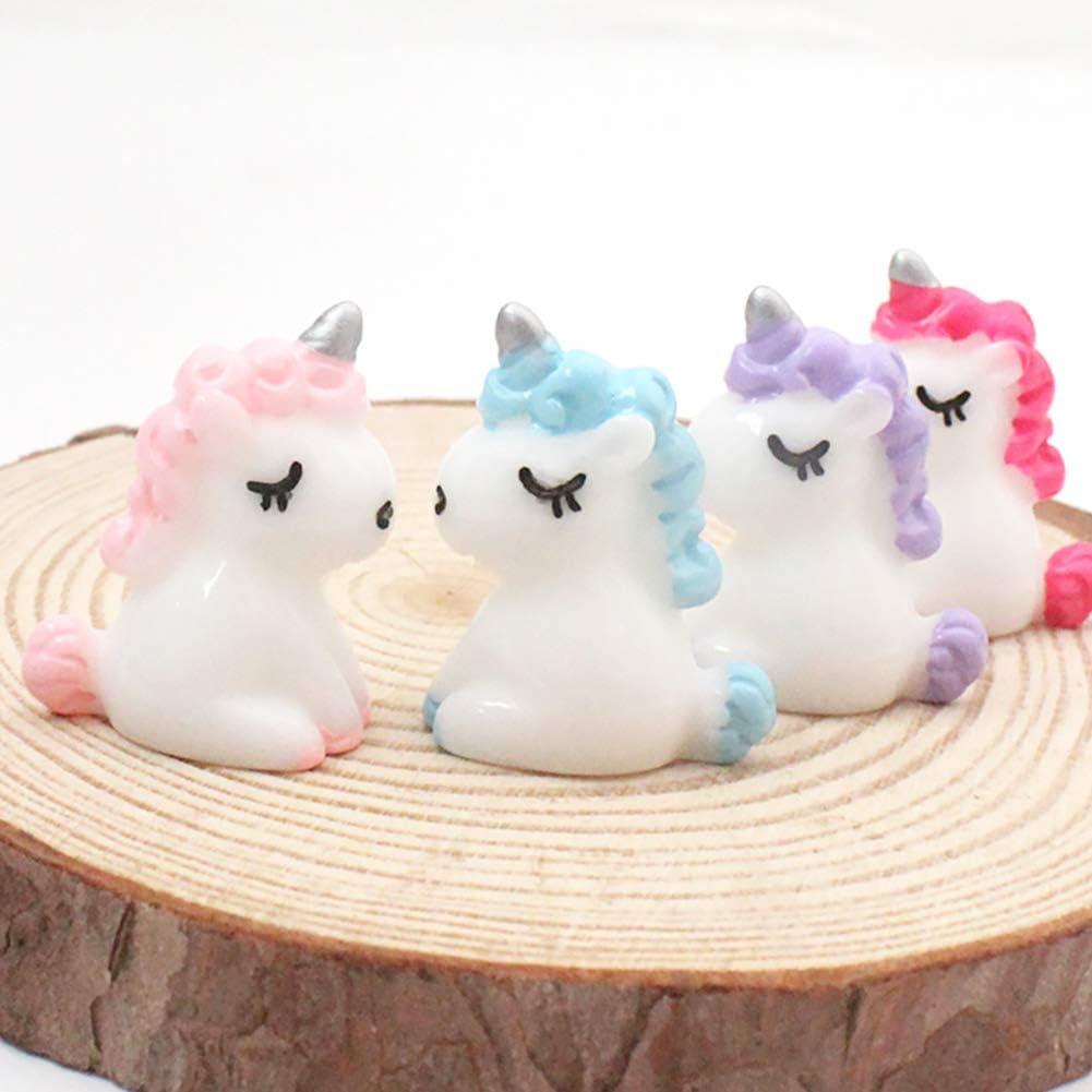Ruiting Resina Unicornio Miniatura 4 Piezas Hada Linda Micro Paisaje Unicorn Cake Decor Mini Figurita Unicornio