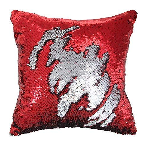 Play Tailor Mermaid Sequin Pillow Case Magic Reversible Sequin Pillow Cover Throw Cushion Case 16x16(Silver-Red)