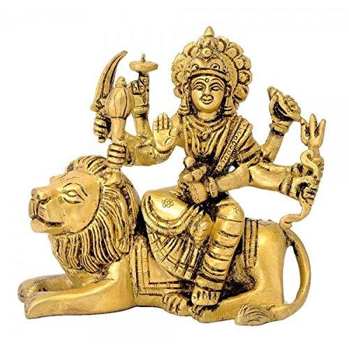 Aone India Ashtabhujadhari Durga Devi Brass Statue + Cash Envelope (Pack Of 10)