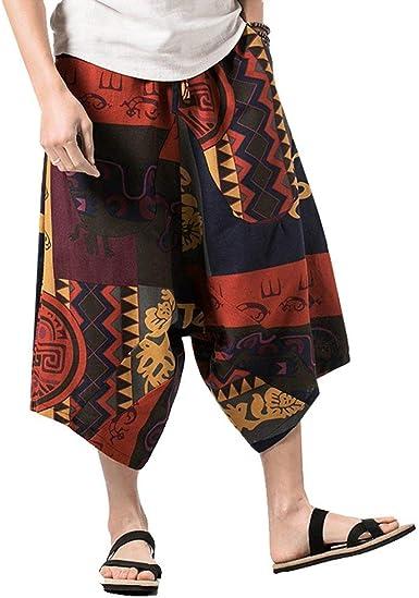 Señoras De Las Señoras Pantalones Capri Unisex Bohemia Tamaños Cómodos Retro Print Entrepierna Harem Pantalones Capri De Algodón Holgado Cintura Sarouel Aladdin Pluder Goa Pantalones Hippie Ropa: Amazon.es: Ropa y accesorios