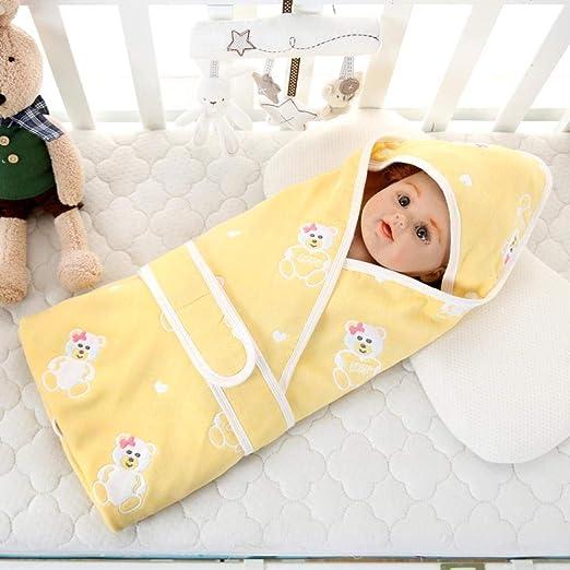 POIUYT Bebé Manta Saco De Dormir para Bebés Recién Nacidos Edredón De Gasa Multicapa Manta De Toalla De Baño Suave para Bebés @ Yellow_90 * 90,Blue -90 * 90: Amazon.es: Hogar