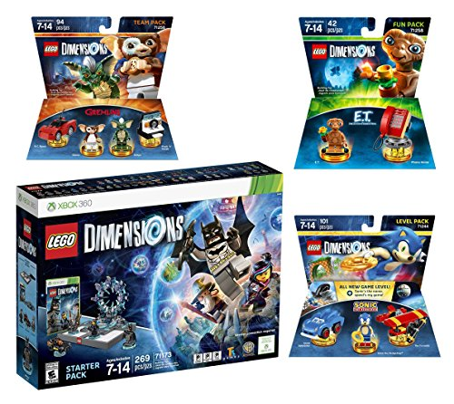 Lego Dimensions Starter Pack + Sonic The Hedgehog Level Pack + Gremlins Team Pack + E.T. Fun Pack for Xbox 360 Console by WB Lego